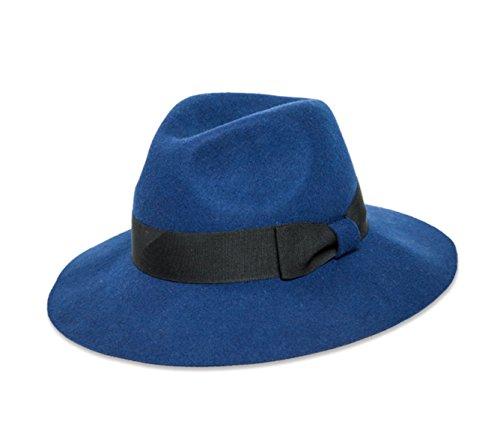 Home Prefer Women's Wool Felt Fedora Hat Outback Hat with Grosgrain Royal Blue
