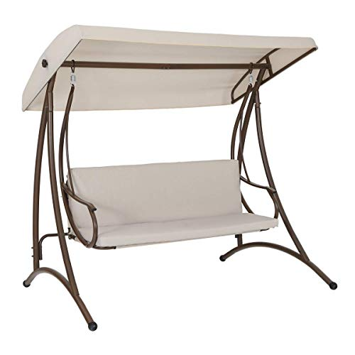 (MF STUDIO 3-Person Outdoor Large Convertible Canopy Swing Glider Lounge Chair w/Removable Cushions- Beige )