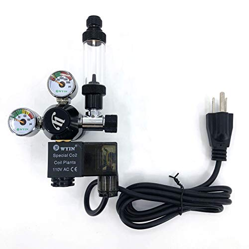 wyin CO2 Aquarium Regulator, Mini Dual Gauge Display with Bubble Counter and Check Valve w/Solenoid 110V Fits Standard US Tanks Easy to Adjust CO2 Level Comes w/Tools, CGA320, FBA Shipping ()