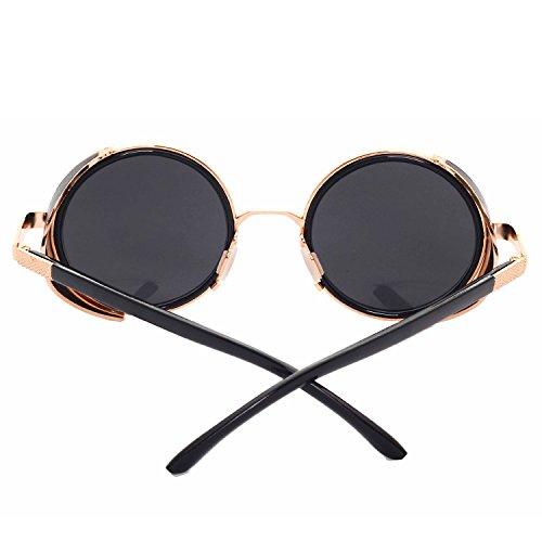 58d9b72ea7 Cvoo Classic Vintage Round Sunglasses Men Steam Punk Metal Frame Mirror  Glasses Retro Steam Punk Women Sunglasses  Amazon.co.uk  Clothing