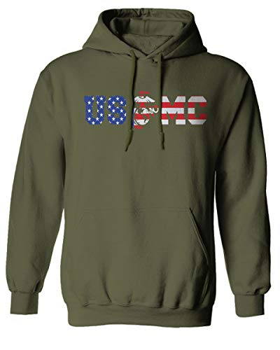 (VICES AND VIRTUESS USMC Marine Corp Seal American Flag Logo USA America Hoodie (Olive,)