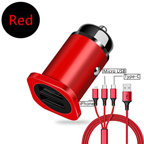 DECVO UL Testify Two Ports Car Charger with Cable, Dual-Port USB and 3 in 1 Cord for Samsung Galaxy S9 S8 Plus/S7/S6/Edge/Note 5 8,HTC,LG G6 G5,Nexus 5X 6P, iPhone Xs X 8 7 6 6S,iPad and More (Red) (Adaptor Latitude Car Seat)
