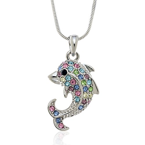 - PammyJ Small Multi Color Dolphin Pendant Necklace, 17