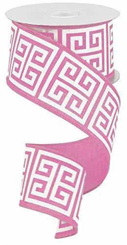 Greek Keys Wire Edged Ribbon (Pink, White, 2.5