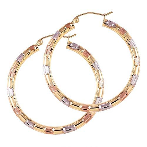TousiAttar Big Hoop Earrings - 14k Tri Color Gold Earring for Women and Her - Unique Jewelry for Everyday