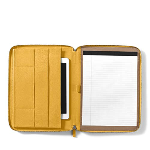 - Leatherology Tablet Padfolio Portfolio Compatible with iPad - Full Grain Leather Leather - Turmeric (Yellow)