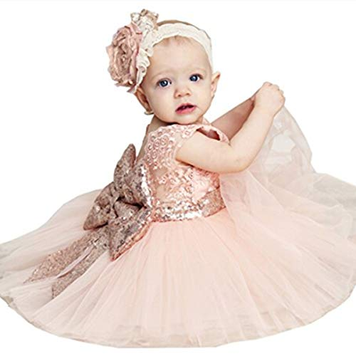 Newborn Toddler Baby Girls Sequins Bowknot Floral Princess Dresses (6-12 Months, Pink) (Best Websites For Special Occasion Dresses)