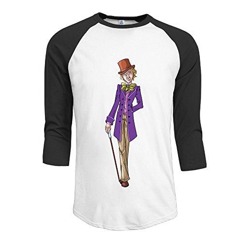 Print3/4SleeveRaglan Gentleman Cartoon Tshirts With Gene Wilder Willy Wonka]()