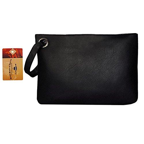 ZLM BAG US Women Solid Envelope Evening Clutch PU Wristlet Wallet Tote Purse Casual Large Capacity Zipper Handbag (Oversized Vintage Clutch)