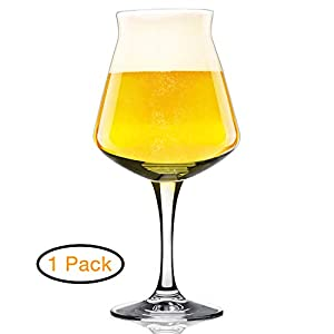 Rastal Teku Stemmed Beer Glass -Nucleated Pint Craft Beer Glasses for Better Head Retention, Aroma and Flavor – 14.2 oz Beer Glass for Enhanced Beer Drinking Bliss – Gift Idea for Men