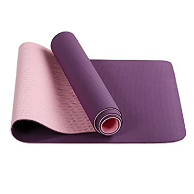 WarmHarbor All-Purpose TPE Yoga Mat Extra 6mm Workout Mat Thick High Density Anti-Tear Exercise Mats for GYM with Carrying Strap