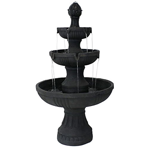 Cheap Sunnydaze Flower Blossom 3-Tier Garden Water Fountain, Black, 43 Inch Tall