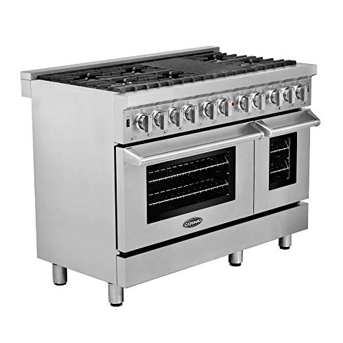 Dual Double Fuel Range - Cosmo COS-DFR486G | 48-inch Pro-Style Slide-In Dual-Fuel Range | Free-standing 6 Italian-Burner Range with Cast-Iron Grate/Griddle + Grease Trap, Double Oven in Stainless-Steel