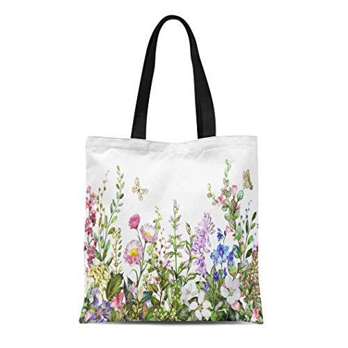 Semtomn Cotton Canvas Tote Bag Rim Border Herbs and Wild Flowers Leaves Botanical Reusable Shoulder Grocery Shopping Bags Handbag Printed