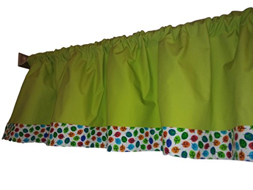 Classroom Citron leaf valance curtain Red, blue, white orange Multi color , window treatments, kitchen, kids, nursery, playroom, daycare, fun shapes and colors green lime and (Classroom Curtains)