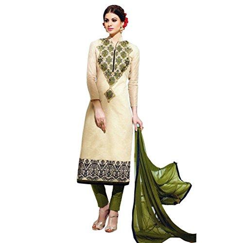 Designer Silk Embroidered Ready made Salwar Kameez Suit Indian – 0X, Beige