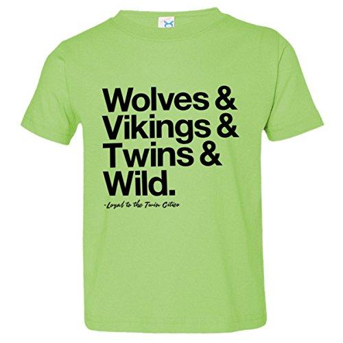 Toddler Loyal Timberwolves Vikings Twins Wild Sports Tee Lime-3