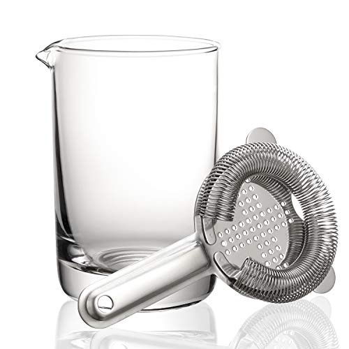 Hiware Cocktail Mixing Glass with Strainer - Professional Bartender Kit, 550ml by Hiware