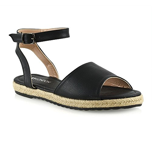 ESSEX GLAM Womens Flat Ankle Strap Espadrilles Sandals Ladies Casual Summer Holiday Shoes Black UuigZB5O1