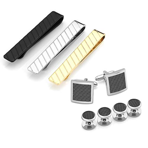 Jovivi Personalized Custom Engraved 9pcs Stainless Steel Cufflinks & Tie Clips & Cuff Studs Set Mens Business Shirt Wedding Gifts
