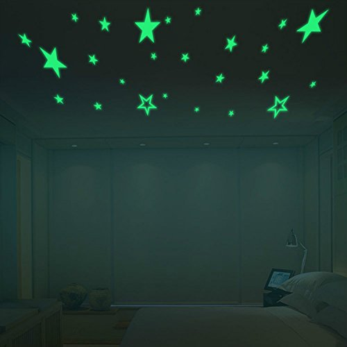 Yanqiao Pack of 27pcs Luminous Stars Glow in the Dark Fluorescent Noctilucent DIY Wall Stickers Decals for Home Ceiling Wall Decorate Baby Kids Gift Nursery Room