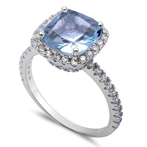(Blue Apple Co. Halo Wedding Engagement Ring Solitaire Cushion Round Simulated Aquamarine 925 Sterling Silver, Size-8)
