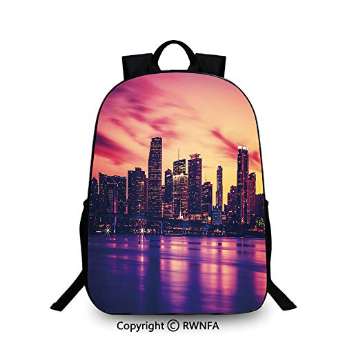 Lightweight Backpack-School Bag for Kid Girls Boys Colorful,View of Miami at Sunset Building Urban Modern City Life Ocean Skyline School Backpacks For boys Purple Pink Peach