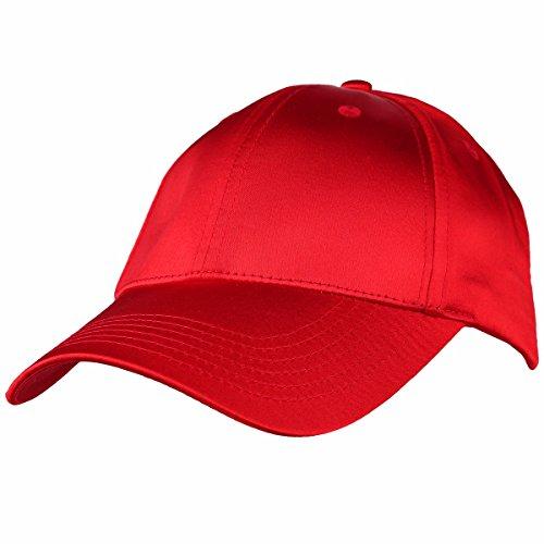 (moonsix Baseball Cap,Plain Polyester 6 Panel Satin Sport Dancing Summer Sun Curved Visor Hat,Red)