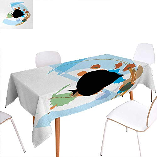Warm Family Fish Washable Tablecloth Silhouette of a Discus Cichlid in a Partly Illustrated Bowl Cartoon in Pastel Colors Waterproof Tablecloths 60