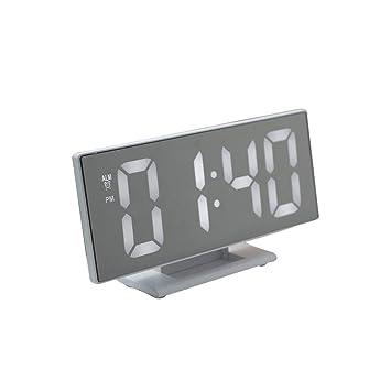 Houkiper Reloj Digital con Espejo, Pantalla Grande Multifunción, Reloj Despertador de Escritorio, Función de Repetición, Fuente de Alimentación Externa USB ...