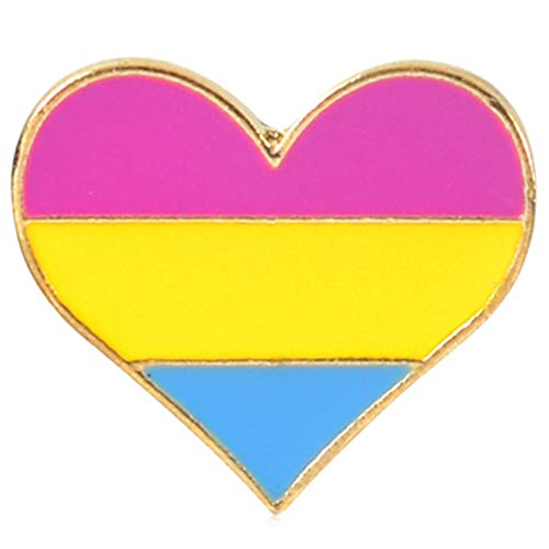 Flairs New York Premium Handmade Enamel Lapel Pin Brooch Badge ([LGBTQ+] Pansexual Heart, 1 Pin) (Flair Badges)