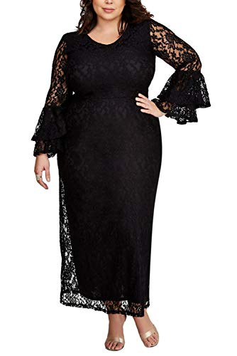 FUSENFENG Women's Plus Size Lace Long Sleeve Wedding Evening Party Maxi Dress (Black, XXL)