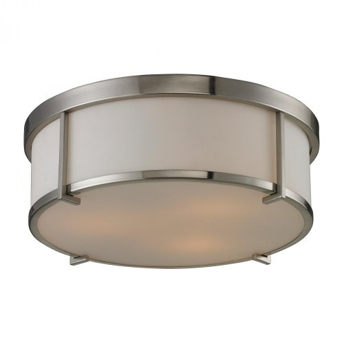 - Elk 11465/3 3-Light Flush Mount with Opal White Glass Shade, 15 by 5-Inch, Brushed Nickel Finish