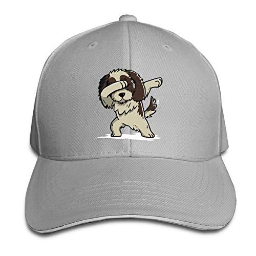 Men & Women's Dabbing Shih Tzu Cotton Baseball Hat Adjustable Trucker Hat for Mens Womens Gray