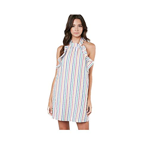 Women's Rainbow Stripe Ruffle Front Sleeveless Cotton Halter Tie Back Dress with Pockets -