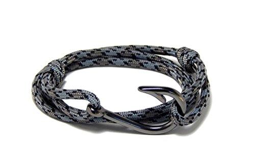 Men's Women's Nautical Fish Hook Bracelet Gray Gunmetal Black Tone Fish Hook Adjustable