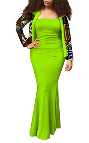 African Dress Slim Batik Floral Women Wrap Bodycon 2pcs Set Maxi Six Coolred qOSCRx5