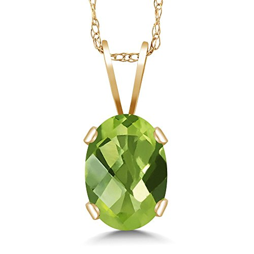 Gem Stone King 1.00 Ct Oval Checkerboard Green Peridot 14K Yellow Gold Pendant