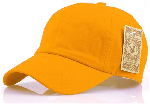 RufnTop The Classic Washed Cap Vintage Cotton Adjustable Dad Hat Baseball Cap(Orange Yellow One Size)
