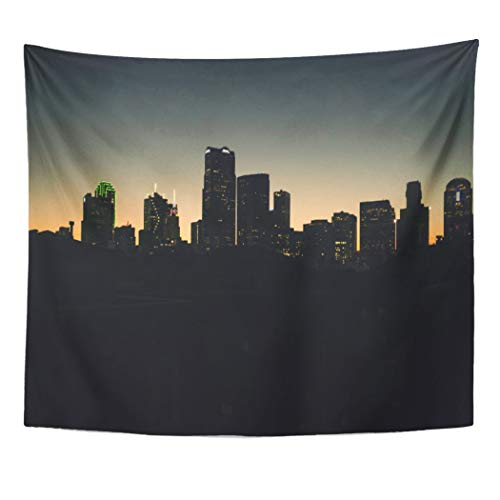 Semtomn Tapestry Artwork Wall Hanging Housewarming Rooftop View Dallas Skyline Party Nightscape Black Lights 50x60 Inches Home Decor Tapestries Mattress Tablecloth Curtain Print -