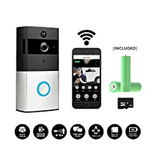 Smart Wireless WiFi Video Doorbell,HD 720P Camera Battery Powered Home Security Camera, Built-in 8G Card PIR Motion Detetion Tamper Alar Infrared Night Vision Two-Way Audio Two 18650 6800mAH