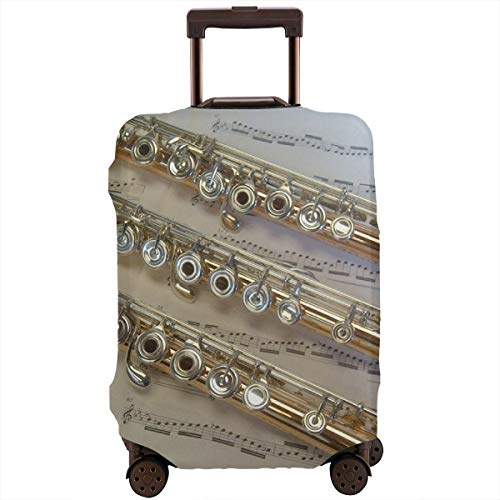 Yuotry Travel Luggage Cover - Flute Music Zipper Suitcase Protector Luggage with Fixed Buckle Fits 18-32 Inch Luggage M