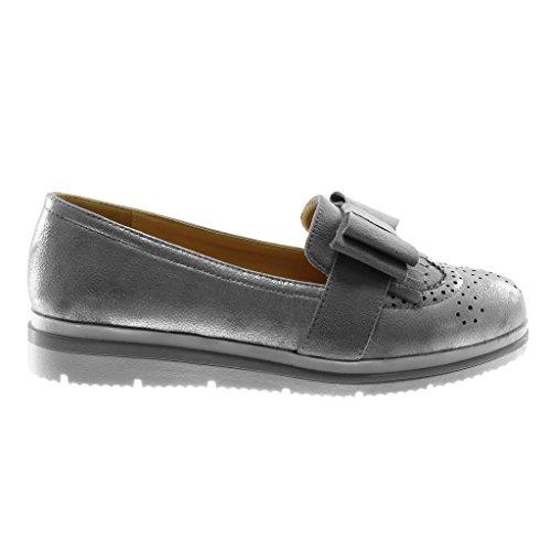 Angkorly Damen Schuhe Mokassin - Slip-On - Bi-Material - Metallischen - Knoten - Glänzende - Perforiert Keilabsatz High Heel 3 cm Grau