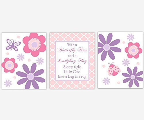 Baby Girl Nursery Wall Art Pink Purple Lavender Butterfly Ladybug Flowers Modern Floral Whimsical Kiss Hug Baby Nursery Decor SET OF 3 UNFRAMED PRINTS