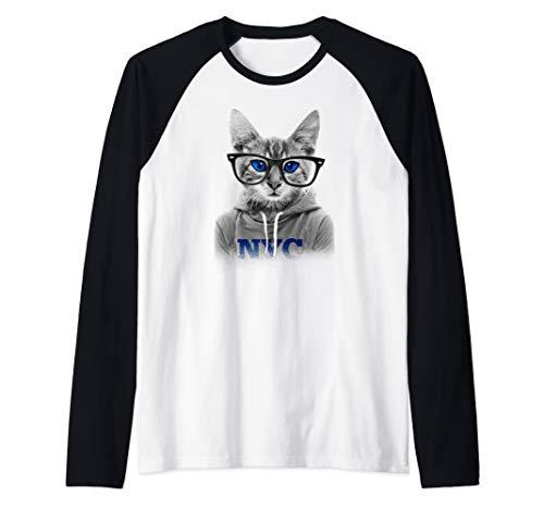 Beautiful Blue Eye Bespectacled Cat Wearing NYC Hoodie Raglan Baseball Tee