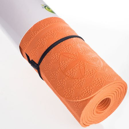 SALE! Thick Orange Premium Ylayaa Yoga Mat with Guided Alignment Lines & Strap, Fitness Exercise Mat, Lightweight, 100% Eco-Friendly, TPE Certified, Super Traction, 4 mm Thick, 24 x 72 Inches