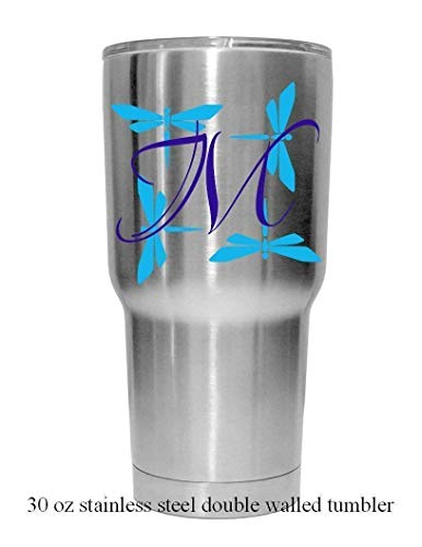 - Single Letter with Dragonfly Background Decal. Decal comes with or without a stainless steel tumbler mug. Choose the color & size. Perfect for car windows, Yeti cups, computer case, water bottle, etc.
