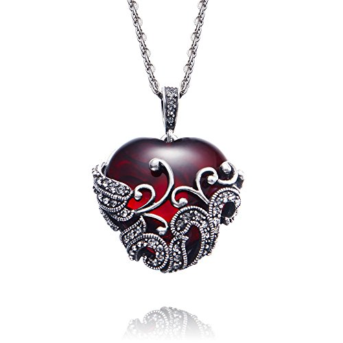 Yellow Chimes Red Romantic Heart Filigiree Antique Looks Red Glass Stone Latest Design Pendant for Women