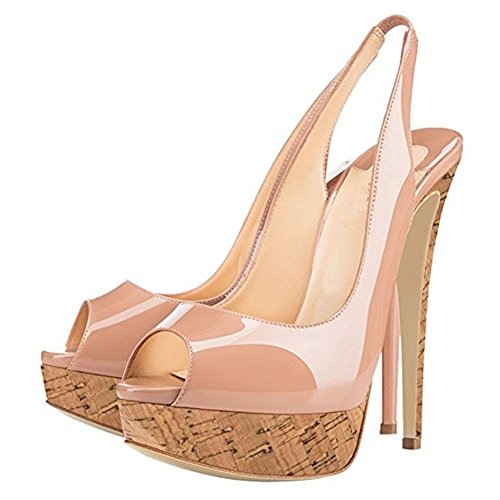 wooden Stiletto Toe Pumps Dress Sandals Platform Womens Pattern MIUINCY Wedding Thin Shoes Nude Slip ¡­ On High Heels Peep Heel nqUtEnw0R