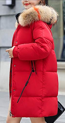 Outwear Winter Faux Thicken Red Fur Women Jacket EKU Parka Hood Long pEqwznUgOx